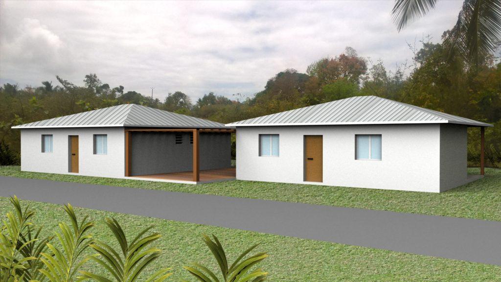 Maison bois et béton 2 modules 110 m²