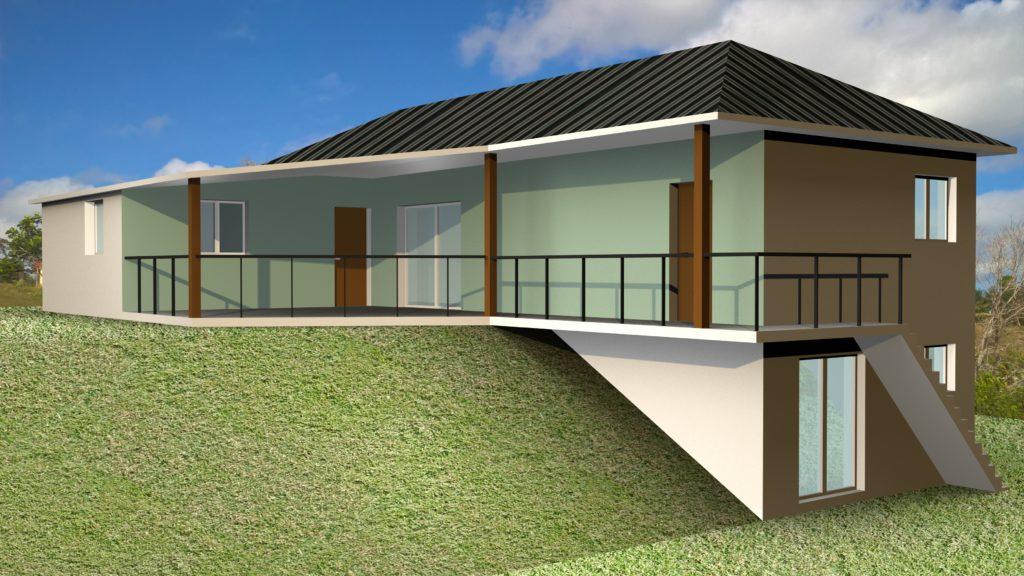 Villa terrain en pente avec sous-sol